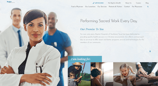 """Homepage of the website of Baptist Hospitals of Southeast Texas showing a confident-looking female doctor with her arms crossed and two other male medical staff members nearby. The image is shown next to the words, """"Performing Sacred Work Every Day."""""""