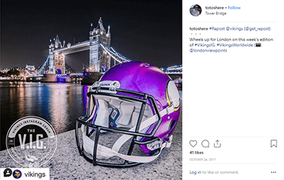 A Minnesota Vikings helmet in London.
